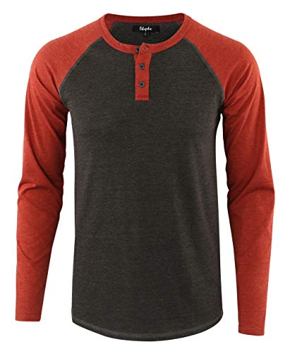 Estepoba Mens Athletic Regular Fit Long Sleeve Active Henley Shirt Baseball Tee H.Charcoal/Rusty M (Long Sleeve Henley Tee)