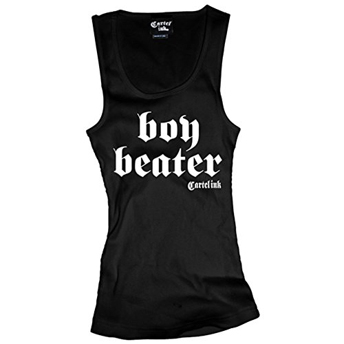 Women's Cartel Ink Boy Beater Tank Top Black (Ladies Boy Beater)