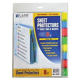 Sheet Protectors with Index Tabs, Assorted Color Tabs, 2\