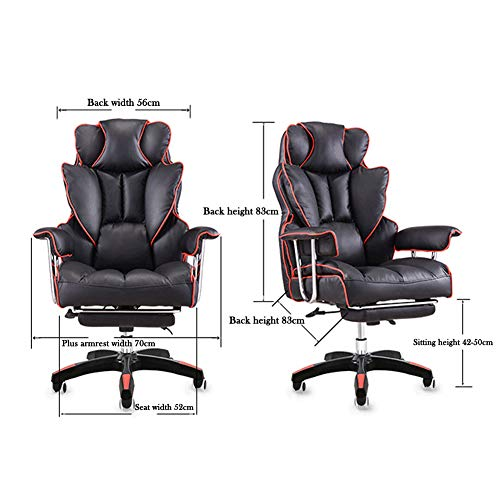 Stolar, kontorsstolar, fåtöljer, justerbar liggande hem dator kontorsstol, chef stol lyft svängbar stol ligg fot vila lunchpaus spelstol-blå-B-fotpall