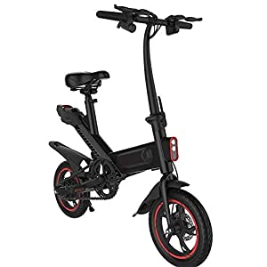 JNWEIYU Electric Bikes for Adults Electric Bike, Folding E-Bike 25Km/H 250W City with 6Ah Li-ion Battery,12 inch Tire 3 Working Modes