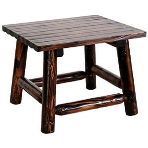 United General Supply TX93702 Natural Organic Char-Log Wood End Table
