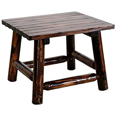 United General Supply TX93702 Natural Organic Char-Log Wood End Table - Rustic, solid wooden end Table Mildew, mold and stain resistant 24-Inches by 24-inches by 19-inches - patio-tables, patio-furniture, patio - 41QO%2Bgccc3L. SS400  -