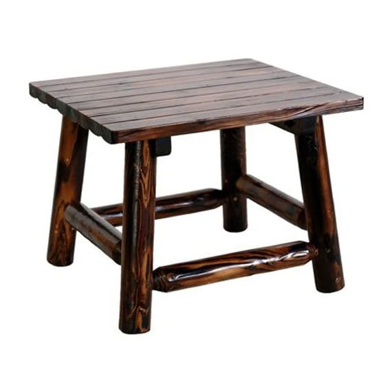 United General Supply TX93702 Natural Organic Char-Log Wood End Table - Rustic, solid wooden end Table Mildew, mold and stain resistant 24-Inches by 24-inches by 19-inches - patio-tables, patio-furniture, patio - 41QO%2Bgccc3L. SS570  -