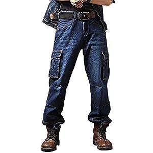 Idopy Casual Motorcycle Workwear Multi Pockets Denim Biker Cargo Jeans Pants