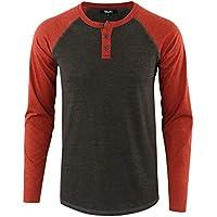 Estepoba Mens Athletic Regular Fit Long Sleeve Active Henley Shirt Baseball Tee