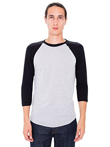American Apparel Men 50/50 Raglan 3/4 Sleeve T-Shirt Size M Heather Grey/Black