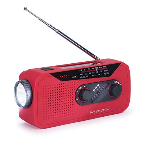 iRonsnow IS-366 Solar Emergency NOAA Weather Radio Hand Crank Windup WB/AM/FM Radios with Earphone Jack & Charge Indicator, 2000mAh Power Bank Phone Charger, Ultra Bright Flashlight for Camping (Red) by iRonsnow (Image #1)