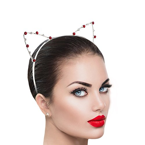Lux Accessories Red Crystal Cat Ears Kitty Meow