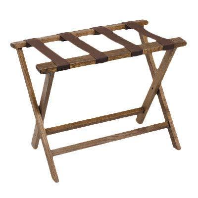 Royal Industries ROY 778 19.5'' Compact Wood Luggage Rack w/Walnut Finish