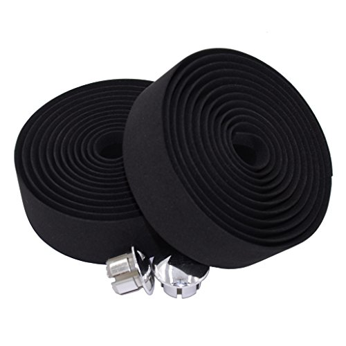 Bicycle Handlebar Tape - KINGOU Black EVA Road Bicycle Handlebar Tape Bike Bar Wraps - 2PCS Per Set