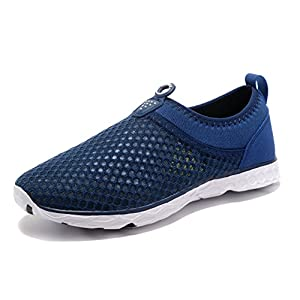 Kenswalk Men's Aqua Water Shoes Lightweight Beach Swim Pool Walking Sneakers (US 12, Navy Blue)