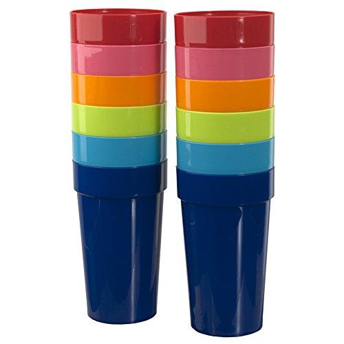 Spectrum 20-ounce Plastic Tumblers | set of 12 in 6 Assorted Colors (Plastic Set Tumbler)