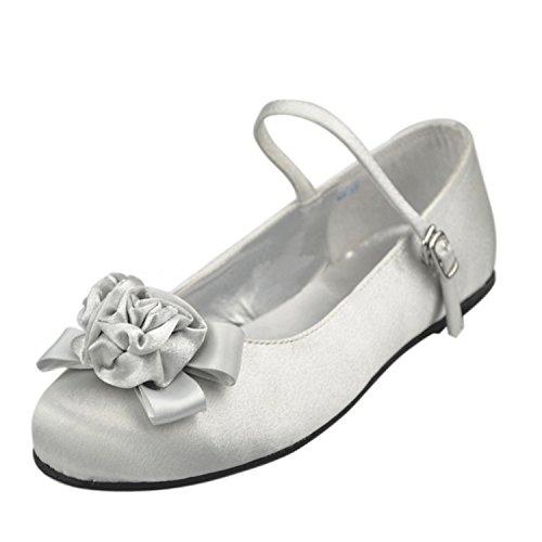 Minishion Girls Womens Mary Jane Flowers Satin Wedding Evening Party Ballet Flats White-0.5cm Heel Ij8vBPxbO