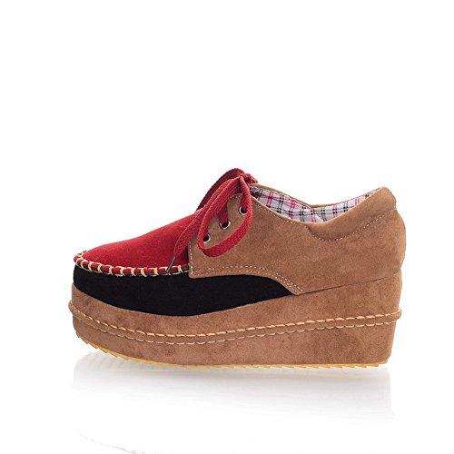 BalaMasa da donna lace-up Kitten tacchi scarpe col tacco chiuse, colori assortiti, Rosso (Red), 35