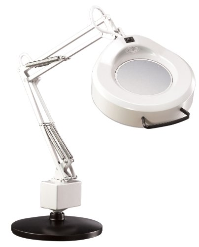 """Luxo 16353LG IFM Magnifier, 30"""" External Spring Arm, 5-Diopter, Weighted Base Mount, Light Grey"""