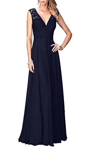 Festlichkleider mit Abendkleider Damen Pailletten Spitze Navy V Lang Ausschnitt Dunkel Elegant Brautmutterkleider Blau Charmant RwxYqpFZw