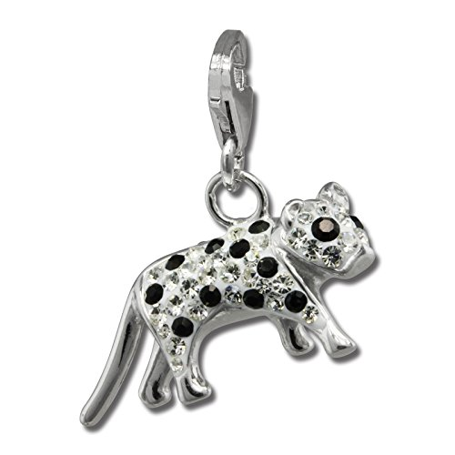 SilberDream Glitter Charm Bengal cat with black and white Czech crystals 925 Sterling Silver Charms Pendant for Charms Bracelet, Necklace or Earring GSC550W