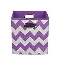 modern littles Folding Storage Bin, Color Pop Purple Chevron