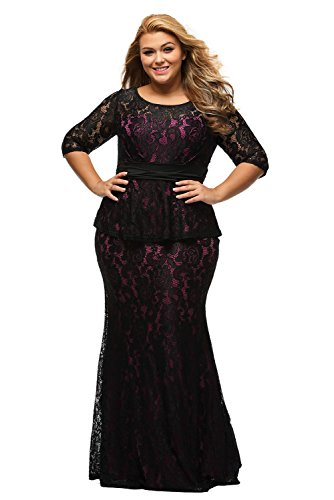 Lalagen Womens Half Sleeve Floral Lace Plus Size Long Evening