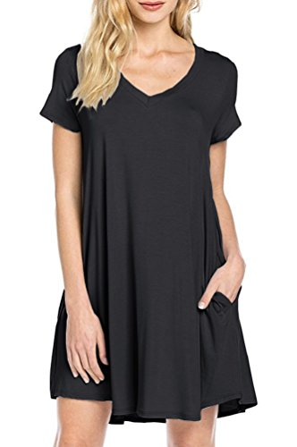 LILBETTER Women's Short Sleeve Pocket Casual Loose T-Shirt Dress (Black XL)