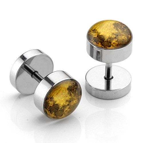 PiercingJ 2-12pcs 16G Solar System Galaxy Universe Stainless Steel Stud Barbell Earrings Illusion Ear Plug 0G Gauge Look by PiercingJ (Image #2)