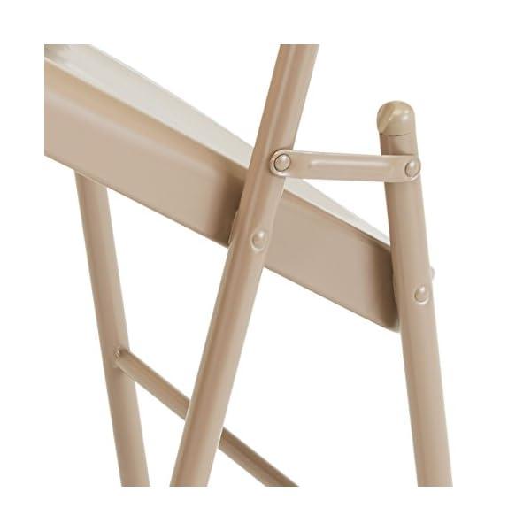 National Public Seating 901 Lot de 4 chaises Pliantes en Acier Beige