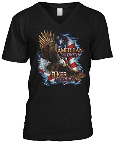 Blittzen Mens V-neck T-shirt American Biker by Choice, M, Black