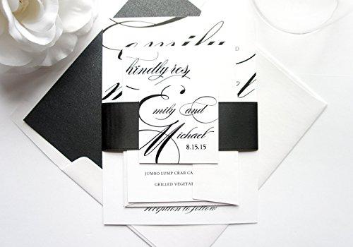 Wedding Invitations Handmade Paper (Elegant Script Wedding Invitation- SAMPLE SET)