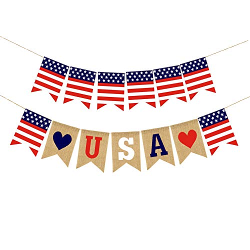 2PCS American Patriotic Banner Jute Burlap Love USA and US flag Bunting for Independence Day 4th of July Decoration -
