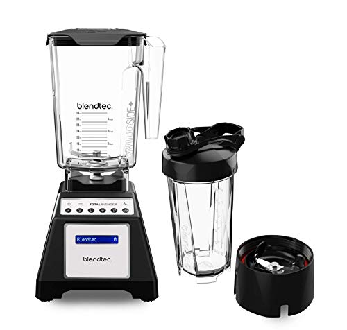 Blendtec Total Classic Original Blender - WildSide+ Jar (90 oz) and Blendtec GOTM Travel Bottle (34 oz) BUNDLE - Professional-Grade Power - 6 Pre-programmed Cycles - 10-speeds - Black