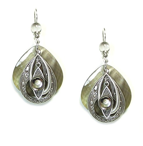john-michael-richardson-silver-plated-gray-shell-and-layered-teardrop-filigree-earrings