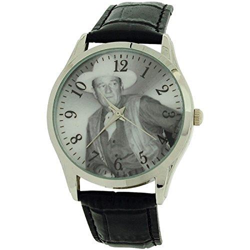 John Wayne Gents Limited Edition Black Leather Crocodile Strap Dress Watch WAY05
