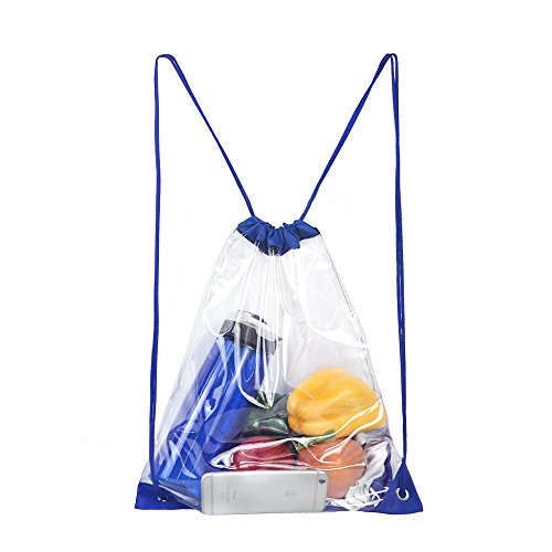 Clear Drawstring Backpack,Waterproof Drawstring Bag for Women and Men School Sport Gym (Blue)