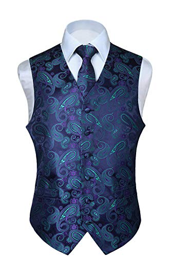 HISDERN Men's Paisley Floral Jacquard Waistcoat & Neck Tie and Pocket Square Vest Suit Set ()