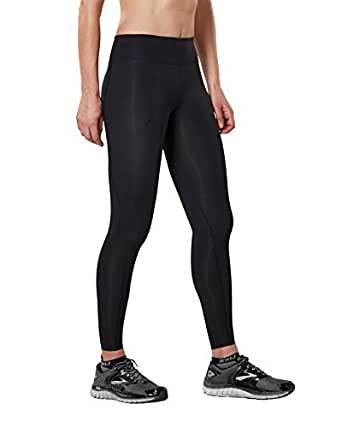 2XU Women's Mid-Rise Compression Tights, Womens, WA2864b, Black/Dotted Black Logo, X-Small