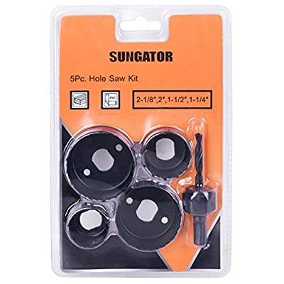 Hole Saw Kit, SUNGATOR 5-Piece Set. Specially Constructed Heat Treated Carbon Steel, High Precision Cutting Teeth. Cut Clean, Smooth, and Precise Holes Through Wood, Plastic, PVC Board and Drywall.