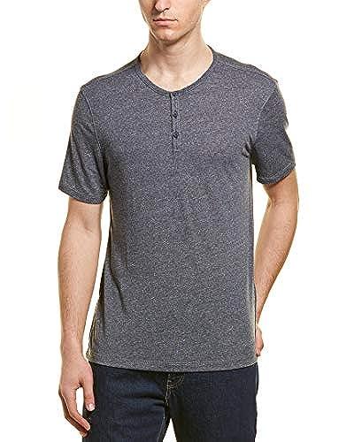 John Varvatos Mens Short Sleeve 3 Button Henley Shirt