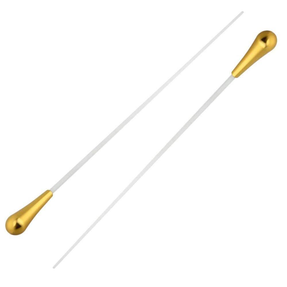 Timiy 15 Inch Length Music Baton Orchestra Baton Band Conducting Baton with Golden Handle-Pack of 2 (Gold)