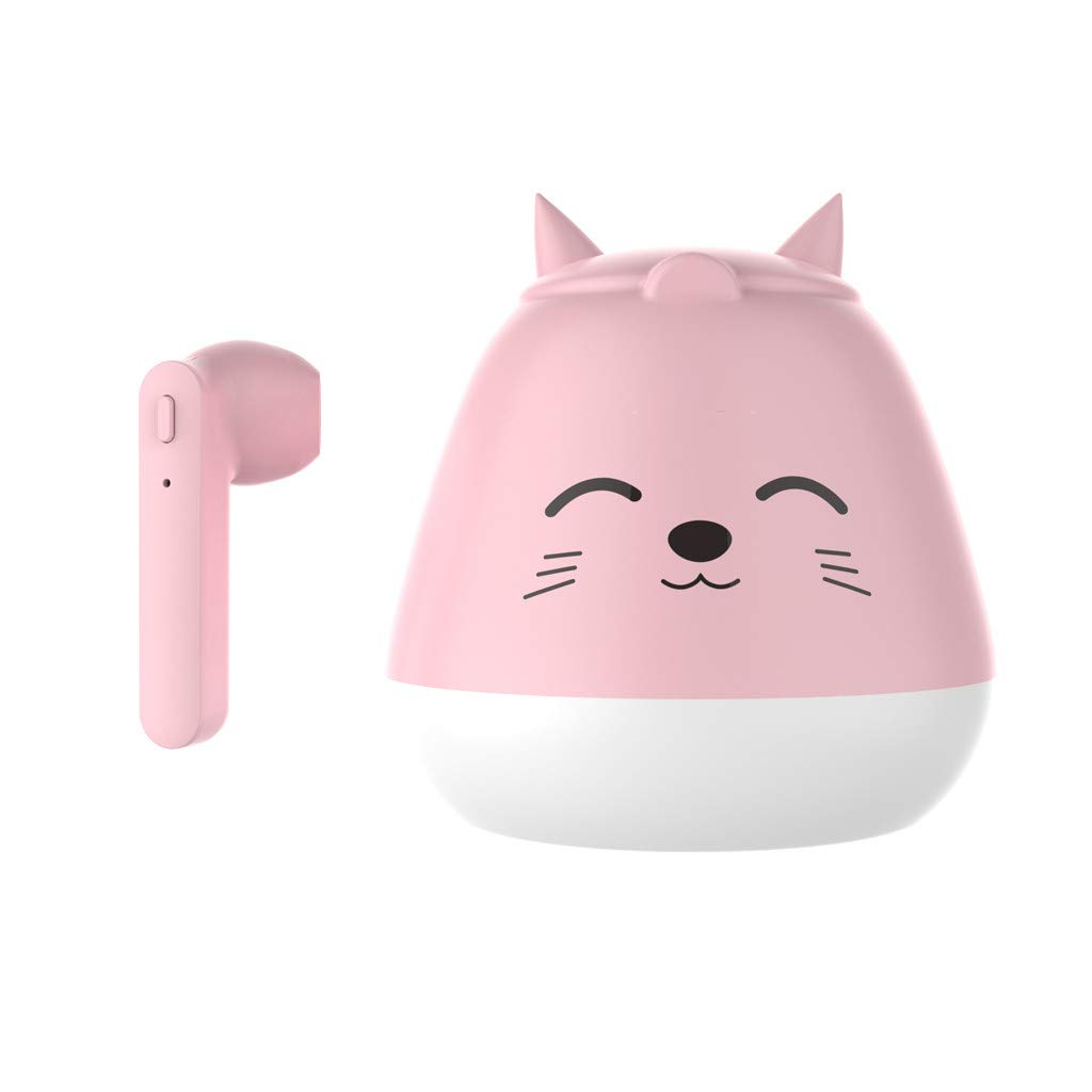 Karooch Cute Animal Shape Mini Wireless Earbud Bluetooth 5.0 Headset Sprot Waterproof Earphone Stereo Headphone Noise Reduction Earpiece, Hands-Free Calling, with Large Capacity Charger Box (Pink)