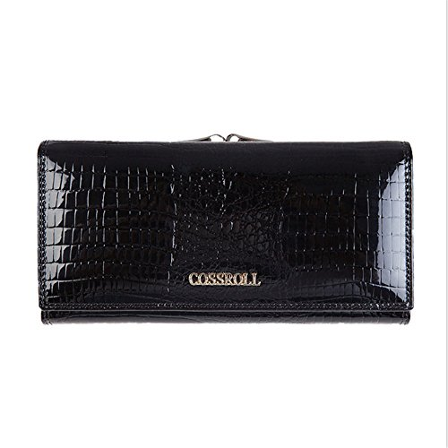 Leather Wallets for women Crocodile Grain Purse Luxury Genuine Leather Cluth Wallet Ladies Bag by COSSROLL (Image #1)