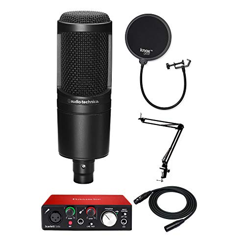 Audio Technica AT2020 Microphone with Focusrite Scarlett Solo USB Audio interface (2nd Gen), Knox Mic Desktop Boom Arm, Pop Filter & XLR Cable