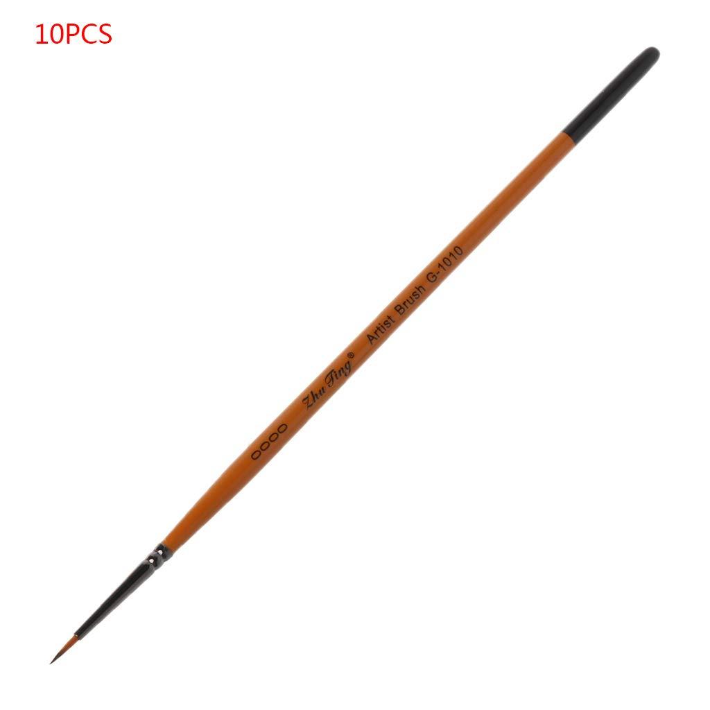 Viesky Nylon set di 10 pennelli da disegno con punta sottile dipinta a mano e punta sottile in nylon per pittura acrilica As pictures shown