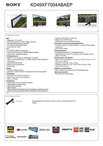 Sony KD-49XF7004 123 cm (49 Zoll) Fernseher (4K HDR, Ultra
