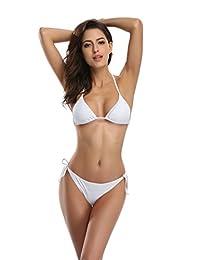 SHEKINI Women's Tie Side Bottom Padded Top Triangle Bikini Bathing Suit