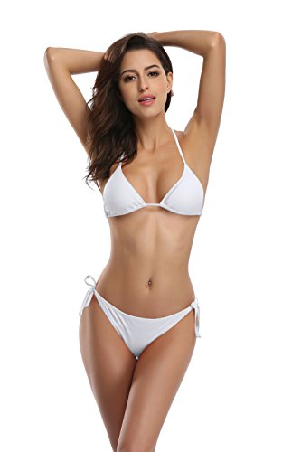 - SHEKINI Women's Tie Side Bottom Push up Padded Top Triangle Bikini Bathing Suit (Venice White, Medium)