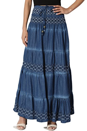 (TheMogan Junior's Embroidered Tiered A-Line Denim Long Maxi Skirt Denim One Size)