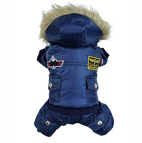 Pineocus Small Dog Apparel Airman Fleece Winter Coat Snowsuit Hooded Jumpsuit Waterproof Coat(for dog Like Poodle, Pinscher, Shih tzu,Chihuahua, Size Runs Small One to Two Size Than US Size) Blue XL ()