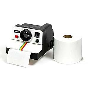 Ducomi® Polaroll–Dispensador para rollos de papel higiénico estilo vintage con forma de cámara Polaroid años '80–dona al Tuo baño un look retro (14x 17x 10cm)