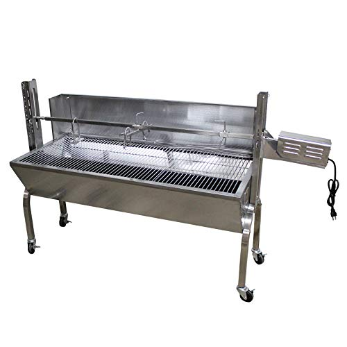 Commercial Bargains Portable BBQ Whole Pig, Lamb, Goat Charcoal Spit Rotisserie Roaster Grill, 30 Watt Motor, 201 Stainless Steel, with Back Cover Guard